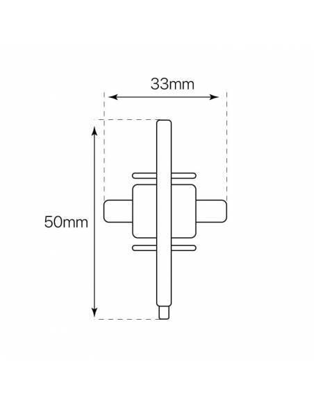 Pieza para conexión intermedia de luminarias led lineales MARKET. Medidas laterales de la pieza.