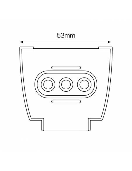 Pieza para conexión intermedia de luminarias led lineales MARKET. Medidas frontales de la pieza.