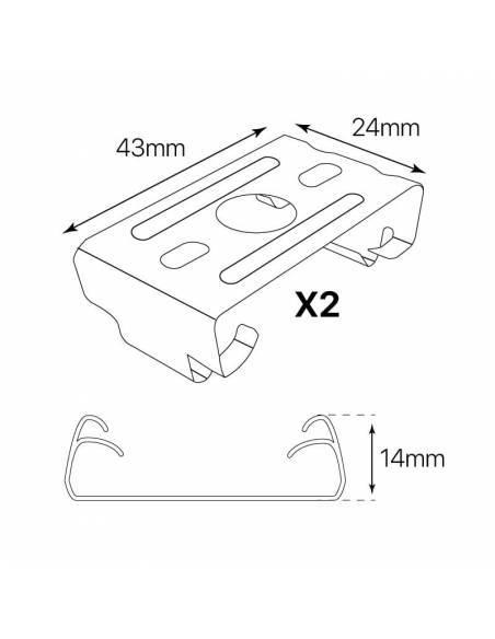 KIT suspensión a techo para LUMINARIA LED LINEAL OFFICE, 2 grapas y cables de acero. Dibujo grapas medidas.
