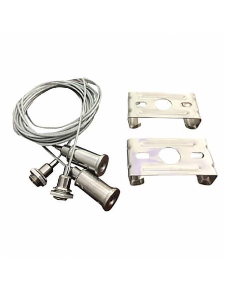 KIT suspensión a techo para LUMINARIA LED LINEAL OFFICE, 2 grapas y cables de acero.