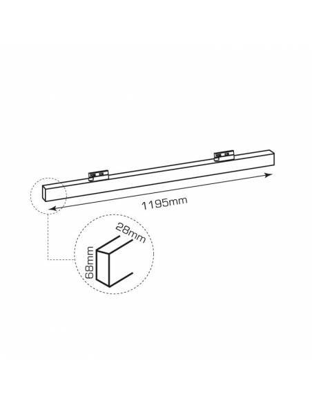 Luminaria LED lineal OFFICE TRACK de 50W, para carril universal. Dibujo técnico.
