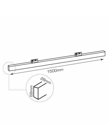 Luminaria LED lineal OFFICE TRACK de 60W, para carril universal. Dibujo técnico.