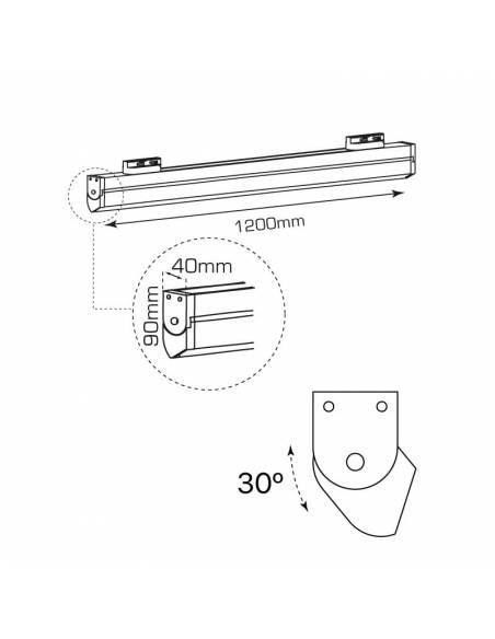 Luminaria LED lineal SWING-TRACK de 50W. Para carriles universales track. Dibujo técnico.