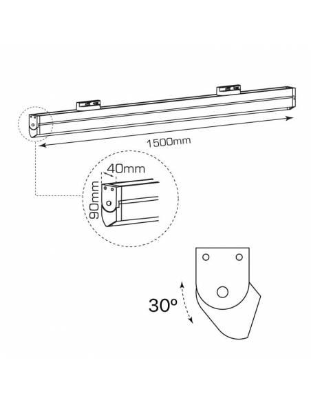 Luminaria LED lineal SWING-TRACK de 60W. Para carriles universales track. Dibujo técnico.