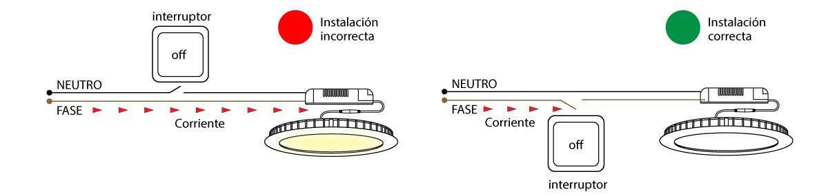 El downlight led parpadea solución 2
